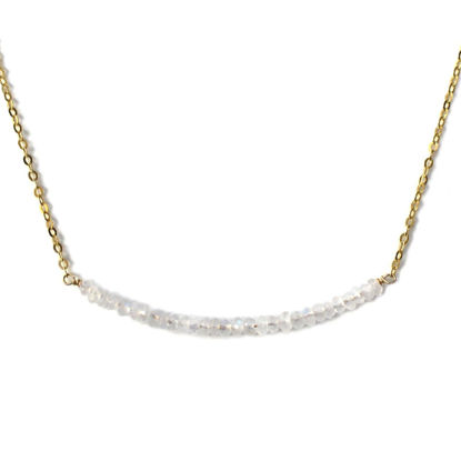 """Wholesale Gold Over Sterling Silver Tiny Moonstone Bead Choker Necklace - June Birthstone - 15"""""""