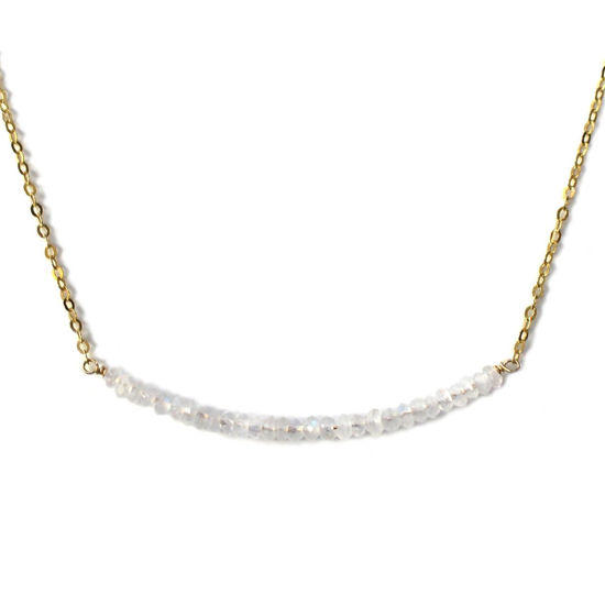 Wholesale Gold Over Sterling Silver Tiny Moonstone Bead Choker Necklace - June Birthstone - 15""