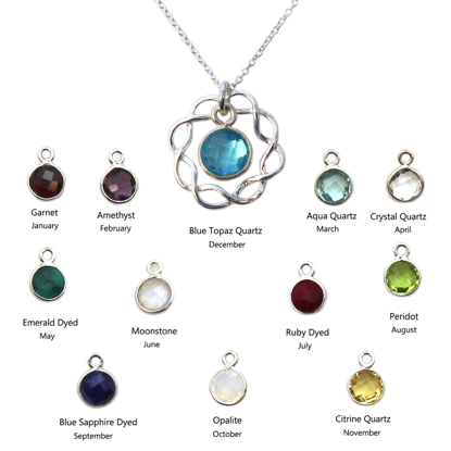"""Wholesale Sterling Silver Birthstone Wreath Necklace - 18"""""""