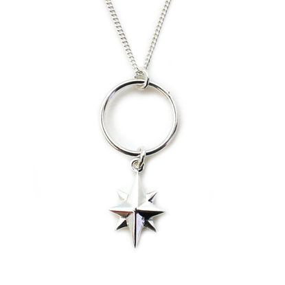 Wholesale Sterling Silver North Star Charm Necklace - 18""