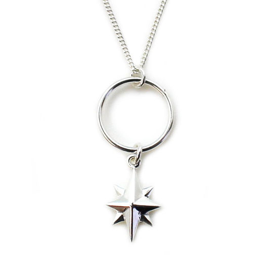 """Wholesale Sterling Silver North Star Charm Necklace - 18"""""""