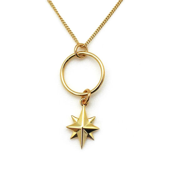 Wholesale Gold Over Sterling Silver North Star Charm Necklace - 18""
