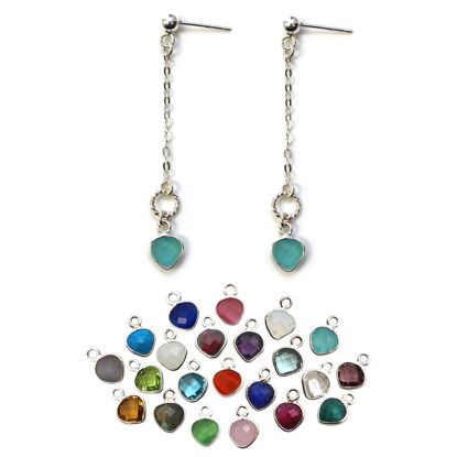 Wholesale Sterling Silver Long Chain and Gemstone Dangle Earrings (Sold Per Pair)