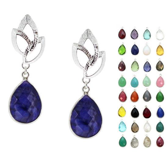 Wholesale Sterling Silver Textured Leaf Teardrop Gemstone Earrings (Sold Per Pair)