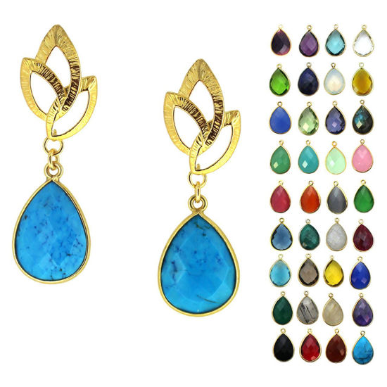 Wholesale Gold Over Sterling Silver Textured Leaf Teardrop Gemstone Earrings (Sold Per Pair)