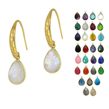 Wholesale Gold Over Sterling Silver Hammered Teardrop Gemstone Earrings (Sold Per Pair)