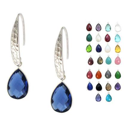 Wholesale Sterling Silver Hammered Teardrop Gemstone Earrings (Sold Per Pair)