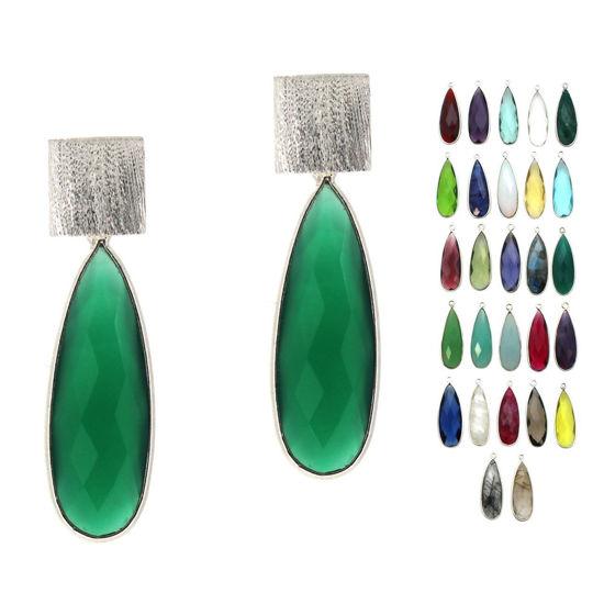 Wholesale Sterling Silver Textured Square Elongated Teardrop Gemstone Earrings (Sold Per Pair)