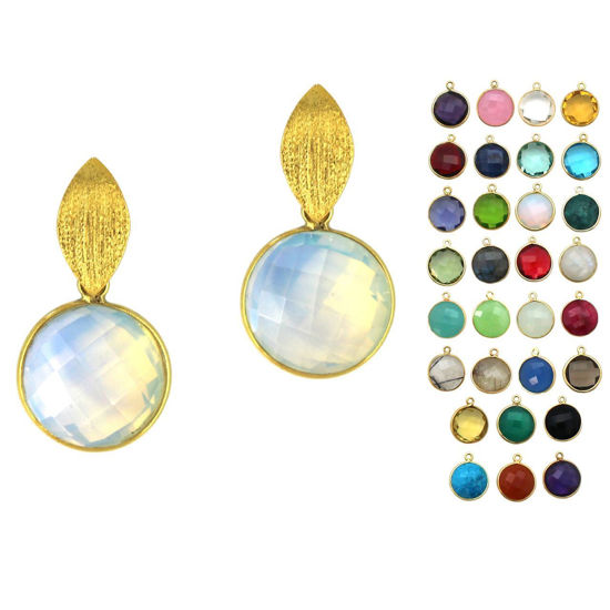 Wholesale Gold Over Sterling Silver Textured Marquise Coin Gemstone Earrings (Sold Per Pair)