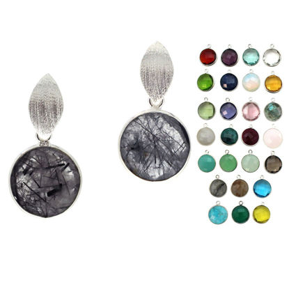 Wholesale Sterling Silver Textured Marquise Coin Gemstone Earrings (Sold Per Pair)