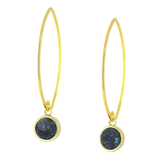 Wholesale Gold Over Sterling Silver Marquise Blue Druzy Earrings (Sold Per Pair)