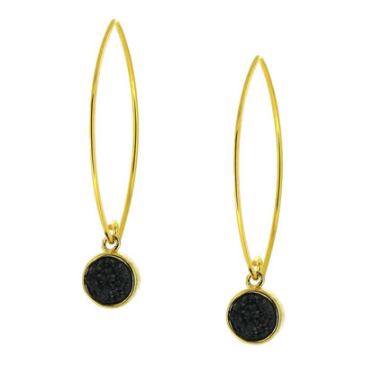 Wholesale Gold Over Sterling Silver Marquise Black Druzy Earrings (Sold Per Pair)