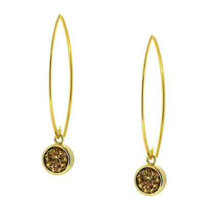 Wholesale Gold Over Sterling Silver Marquise Gold Druzy Earrings (Sold Per Pair)