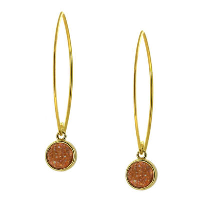 Wholesale Gold Over Sterling Silver Marquise Peach Druzy Earrings (Sold Per Pair)