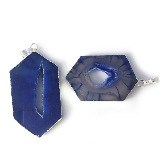 Wholesale Druzy Geode Hexagon Pendant, Geode Window Agate- Natural Blue Agate 43mm