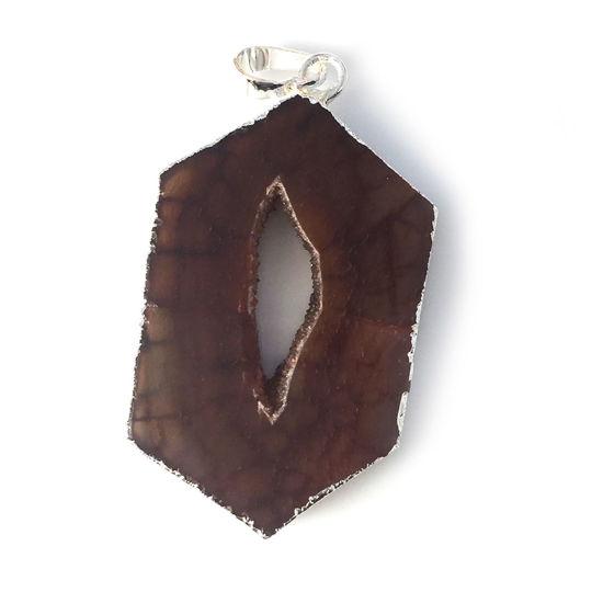 Wholesale Druzy Geode Hexagon Pendant, Geode Window Agate- Natural Brown Agate 43mm