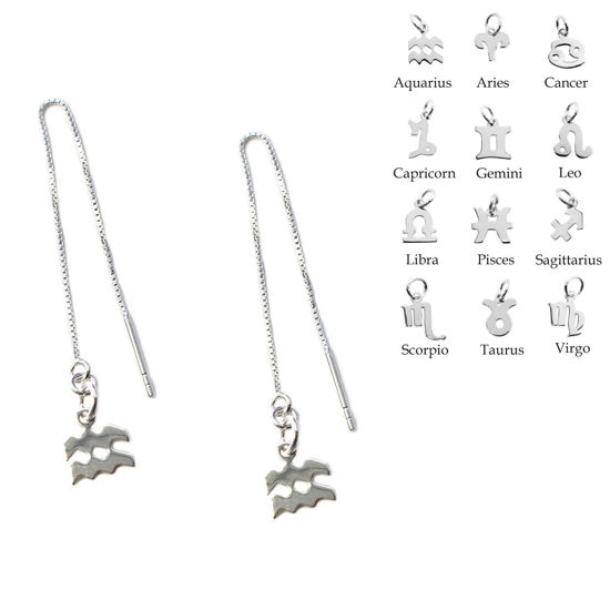 Wholesale Sterling Silver Zodiac Charm Threader Earrings (Sold Per Pair)