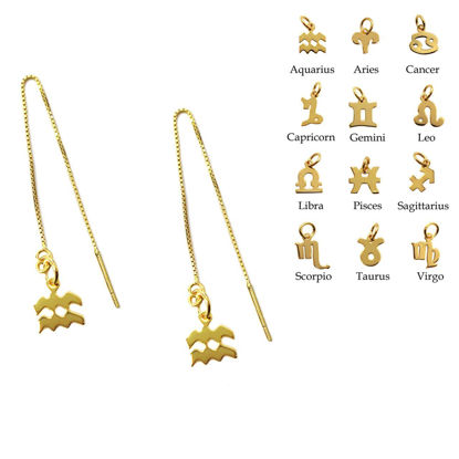 Wholesale Gold Over Sterling Silver Zodiac Charm Threader Earrings (Sold Per Pair)