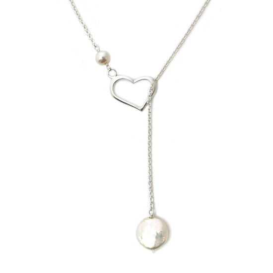 Wholesale Sterling Silver Heart and Freshwater Pearl Lariat Necklace
