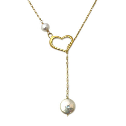 Wholesale Gold Over Sterling Silver Heart and Freshwater Pearl Lariat Necklace
