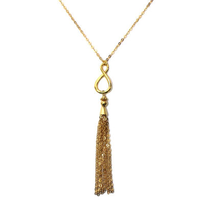 Wholesale Gold Over Sterling Silver Infinity Tassel Necklace