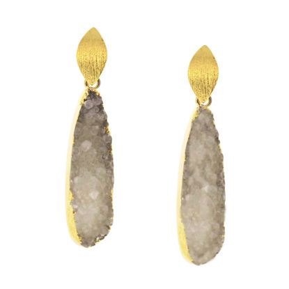 Wholesale Gold Over Sterling Silver Marquise White Elongated Teardrop Druzy Earrings (Sold Per Pair)