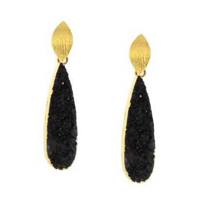 Wholesale Gold Over Sterling Silver Marquise Black Elongated Teardrop Druzy Earrings (Sold Per Pair)