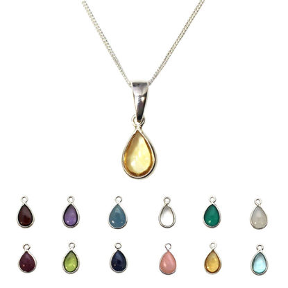 Wholesale Sterling Silver Natural Teardrop Gemstone Birthstone Necklace - 18""