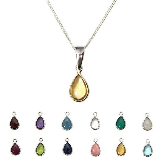 "Wholesale Sterling Silver Natural Teardrop Gemstone Birthstone Necklace - 18"""