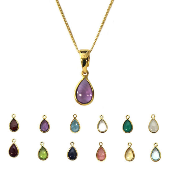 Wholesale Gold Over Sterling Silver Natural Teardrop Gemstone Birthstone Necklace - 18""