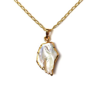 Wholesale Gold Over Sterling Silver Freshwater Keshi Pearl Pendant Necklace - 16""