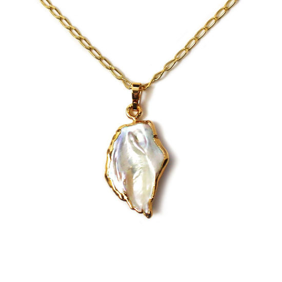 """Wholesale Gold Over Sterling Silver Freshwater Keshi Pearl Pendant Necklace - 16"""""""