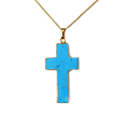 Wholesale Gold Over Sterling Silver Blue Howlite Turquoise Cross Pendant Necklace - 16""