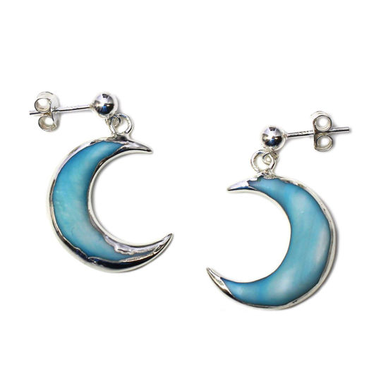 Wholesale Sterling Silver Blue Shell Crescent Moon Earrings (Sold Per Pair)