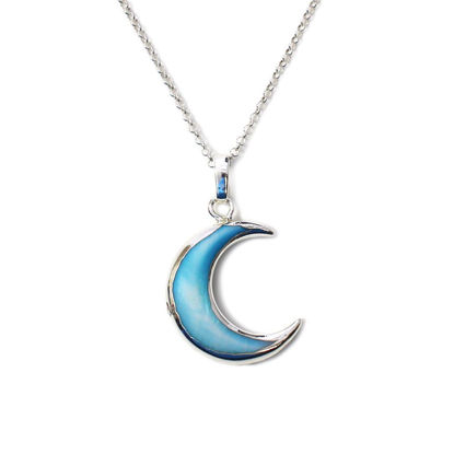 Wholesale Sterling Silver Blue Shell Crescent Moon Necklace - 18""