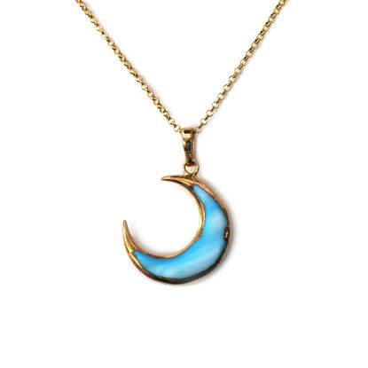 Wholesale Gold Over Sterling Silver Blue Shell Crescent Moon Necklace - 16""