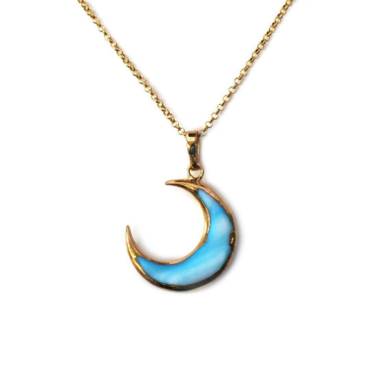 """Wholesale Gold Over Sterling Silver Blue Shell Crescent Moon Necklace - 16"""""""