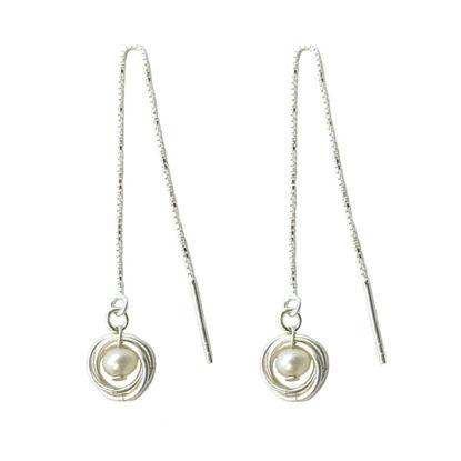 Wholesale Sterling Silver White Freshwater Pearl Nest Threader Earrings