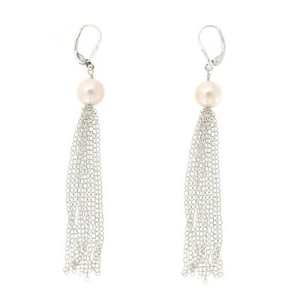 Wholesale Sterling Silver White Freshwater Pearl Tassel Earrings