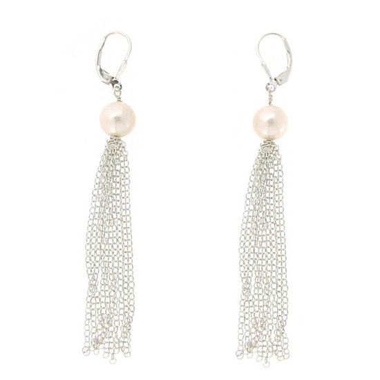 Wholesale Sterling Silver White Freshwater Pearl Tassel Earrings
