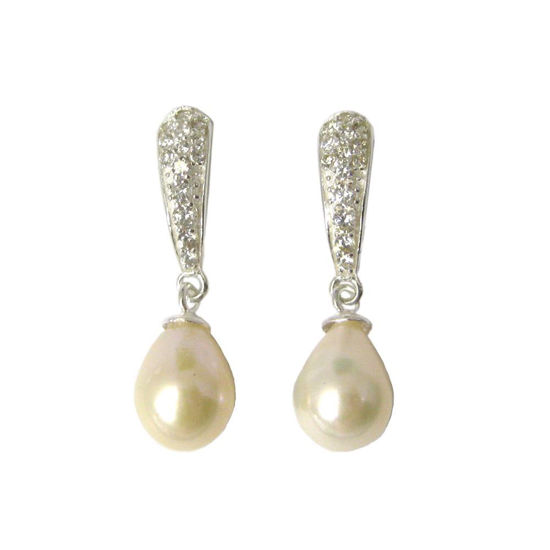 Wholesale Sterling Silver CZ Stone and White Freshwater Pearl Drop Earrings
