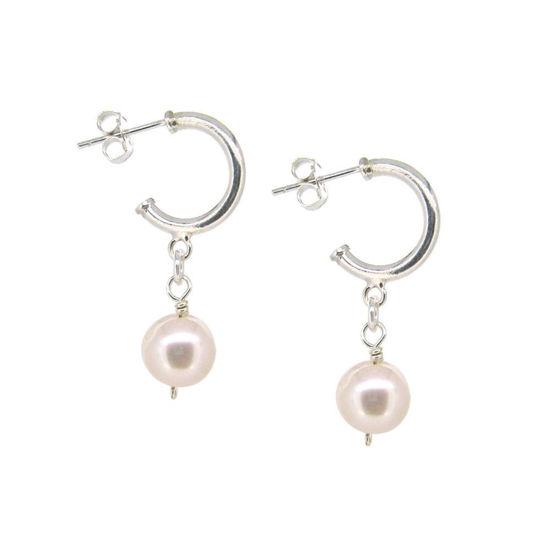 Wholesale Sterling Silver White Freshwater Pearl Half Hoop Earrings