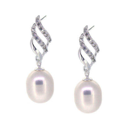 Wholesale Sterling Silver White Freshwater Pearl Fancy Twist Earrings