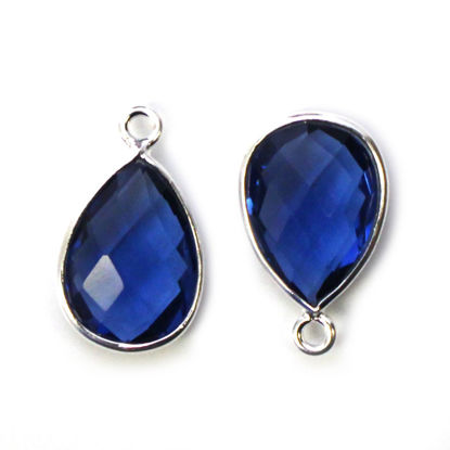 Wholesale Bezel Gemstone Pendant -Sterling Silver Bezel Gemstone 10x14mm Faceted Small Teardrop - Blue Iolite Quartz