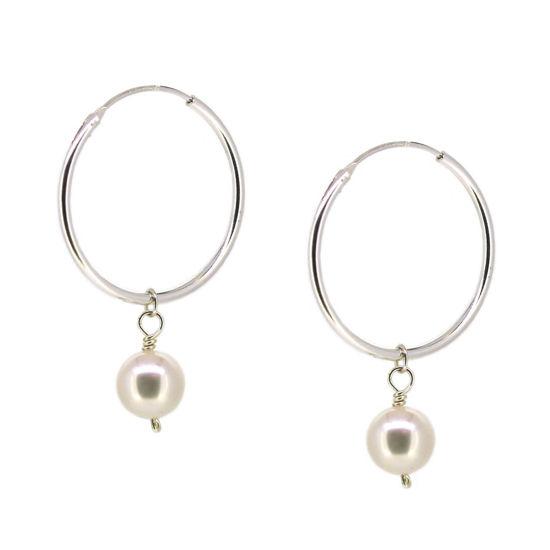 Wholesale Sterling Silver White Freshwater Pearl Hoop Earrings