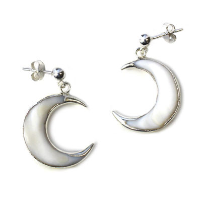 Wholesale Sterling Silver White Shell Crescent Moon Earrings (Sold Per Pair)