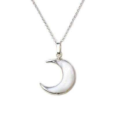 Wholesale Sterling Silver White Shell Crescent Moon Necklace - 18""