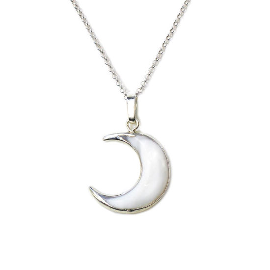 """Wholesale Sterling Silver White Shell Crescent Moon Necklace - 18"""""""