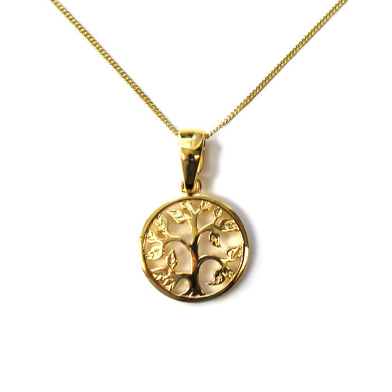 """Wholesale Gold Over Sterling Silver Tree of Life Charm Necklace - 16"""""""