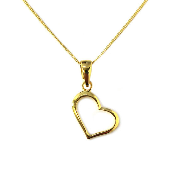 """Wholesale Gold Over Sterling Silver Classic Heart Charm Necklace - 16"""""""